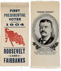 Political:Ribbons & Badges, Theodore Roosevelt: Two Choice 1904 Ribbons.... (Total: 2 Items)