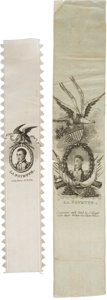 Political:Ribbons & Badges, Marquis de Lafayette: Two Beautiful Silk Ribbons.... (Total: 2 Items)