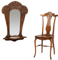 Furniture , French Art Nouveau Carved Oak Wall Mirror and Inlaid Side Chair. Circa 1900. 32 x 22 x 6 inches (81.3 x 55.9 x 15.2 cm) (mir... (Total: 2 Items)
