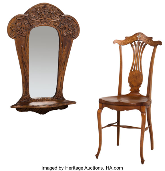Furniture French A Art Nouveau Carved Oak Wall Mirror And Inlaid Side Chair