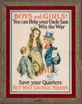"""Prints & Multiples, James Montgomery Flagg (American, 1877-1960). """"Boys and Girls! You Can Help Your Uncle Sam Win the War!,"""" World War I recr..."""
