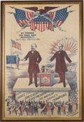 Political:Textile Display (1896-present), McKinley & Hobart: Fabulous 1896 Glazed Cotton Campaign Banner in Choice Condition. ...