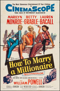 "How to Marry a Millionaire (20th Century Fox, 1953). One Sheet (27"" X 41""). Comedy"