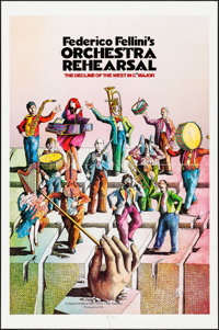 """Orchestra Rehearsal & Other Lot (New Yorker Films, 1978). One Sheets (2) (27"""" X 41"""") Bonhomme Artwork..."""
