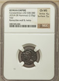 Ancients:Roman Imperial, Ancients: Constantinople Commemorative. AD 330-354. AE3 or BInummus (19mm, 2.55 gm, 12h). NGC Choice MS 4/5 - 5/5....