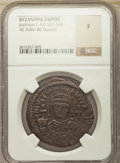 Ancients:Byzantine, Ancients: Justinian I (AD 527-565). AE follis or 40 nummi (35mm,5h). NGC Fine....