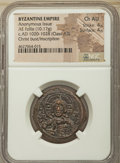 Ancients:Byzantine, Ancients: Anonymous. Class A3 (ca. AD 1020-1028). AE follis (28mm,10.17 gm, 6h). NGC Choice AU 4/5 - 4/5. ...