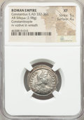 Ancients:Roman Imperial, Ancients: Constantius II, as Augustus (AD 337-361). AR siliqua(22mm, 2.98 gm, 12h). NGC XF 5/5 - 4/5....