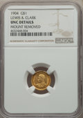 Commemorative Gold, 1904 G$1 Lewis and Clark Gold Dollar -- Mount Removed -- NGCDetails. Unc. NGC Census: (9/1124). PCGS Population: (16/1857)...