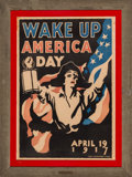 Fine Art - Work on Paper:Print, James Montgomery Flagg (American, 1877-1960). Wake Up AmericaDay, 1917. Lithograph in colors on paper. 40-1/4 x 27-1/2 ...