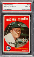 Baseball Cards:Singles (1950-1959), 1959 Topps Mickey Mantle #10 PSA Mint 9 - Only One Higher....