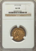 Indian Half Eagles: , 1913-S $5 AU58 NGC. NGC Census: (652/416). PCGS Population:(215/368). CDN: $850 Whsle. Bid for problem-free NGC/PCGS AU58....
