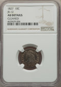 Bust Dimes, 1827 10C Pointed Top 1, JR-12, R.1, -- Cleaned -- NGC Details. AU. NGC Census: (0/3). PCGS Population: (0/2). AU50....