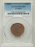 1828 1/2 C 13 Stars MS62 Brown PCGS. PCGS Population: (94/251). NGC Census: (124/226). CDN: $275 Whsle. Bid for problem-...