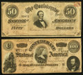 Confederate Notes:1864 Issues, T65 $100 1864 PF-3 Cr. 494;. T66 $50 1864 PF-12 Cr. 501.. ... (Total: 2 notes)