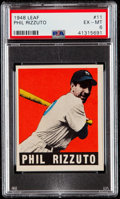 Baseball Cards:Singles (1940-1949), 1948 Leaf Phil Rizzuto #11 PSA EX-MT 6....