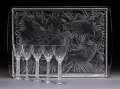 Art Glass:Lalique, Five Lalique Clear and Frosted Glass Phalsbourg MadereGlasses with Perdrix Plateau Tray. Post-1945.... (Total: 6Items)