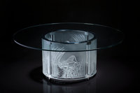 Lalique Clear and Frosted Glass Trois Lionesses Coffee Table Signed by Marie Claude Lalique<