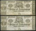 Obsoletes By State:Arkansas, (Little Rock), AR- Arkansas Treasury Warrant $3 Apr. 4, 1862 Cr. 44 and 44A.. ... (Total: 2 notes)