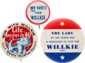 Political:Pinback Buttons (1896-present), Wendell Willkie: Scarce Slogan Badges and Pocket Mirror....