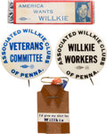 Political:Pinback Buttons (1896-present), Wendell Willkie: Assorted Buttons, Etc....