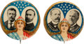 Political:Pinback Buttons (1896-present), Roosevelt & Fairbanks and Parker & Davis: Pair of Colorful Lady Liberty Jugates. ... (Total: 2 Items)