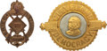 Political:Ferrotypes / Photo Badges (pre-1896), Grover Cleveland and James G. Blaine: Two Large Metal Badges. ... (Total: 2 Items)