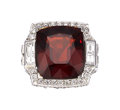 Estate Jewelry:Rings, Garnet, Diamond, White Gold Ring. ...