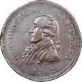 1792 CENT Washington Getz Pattern Cent, Small Eagle, Copper, Circles and Squares Edge -- Tooled -- NGC Details. XF. Bake...