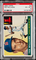 Baseball Cards:Singles (1950-1959), 1955 Topps Ted Williams #2 PSA EX-MT 6....
