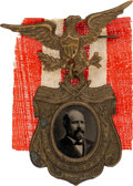 """Political:Ferrotypes / Photo Badges (pre-1896), James A. Garfield: Bold Ferrotype in Recycled """"Our Centennial President"""" Frame. ..."""