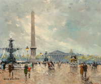 Antoine Blanchard (French, 1910-1988) Place de la Concorde Oil on canvas 18 x 21 inches (45.7 x 5
