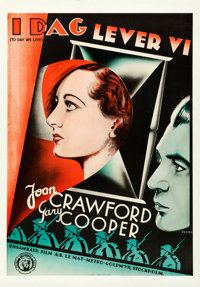 "Today We Live (MGM, 1933). Very Fine- on Linen. Full-Bleed Swedish One Sheet (27.5"" X 39.5"") Fuchs Artwork. Ro..."