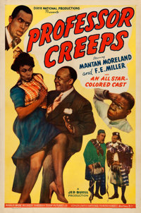 "Professor Creeps (Toddy Pictures, 1942). Fine/Very Fine on Linen. One Sheet (27"" X 41""). Black Films"