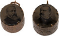 Political:Ferrotypes / Photo Badges (pre-1896), Cleveland & Stevenson and Harrison & Reid: Rare Ferrotype Drums. ... (Total: 2 Items)