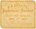Political:Small Paper (pre-1896), Andrew Johnson: Impeachment Ticket....