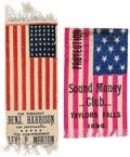Political:Ribbons & Badges, Benjamin Harrison & William McKinley: Two Fine Flag-format Campaign Ribbons....