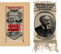 Political:Ribbons & Badges, Benjamin Harrison: Two Pristine Woven 1888 Ribbons.... (Total: 2 Items)