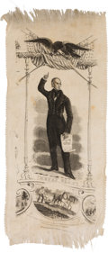 Political:Ribbons & Badges, Henry Clay: A Spectacular Huge Campaign Ribbon Picturing a Standing Clay....