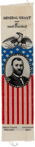 Political:Ribbons & Badges, Ulysses S. Grant: Pristine Woven 1868 Campaign Ribbon....