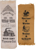 Political:Ribbons & Badges, Benjamin Harrison: Two Outstanding 1888 Slogan Ribbons.... (Total: 2 Items)