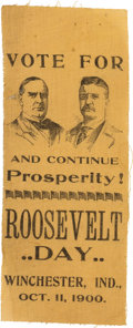 "Political:Ribbons & Badges, McKinley & Roosevelt: Scarce ""Roosevelt Day"" Jugate Ribbon from Indiana...."