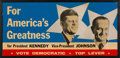 Political:Posters & Broadsides (1896-present), Kennedy & Johnson: Large Jugate Cardboard Poster From Connecticut....