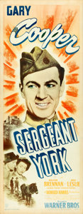 "Movie Posters:War, Sergeant York (Warner Brothers, R-1949). Insert (14"" X 36"") From the Warner Media Archive.. ..."