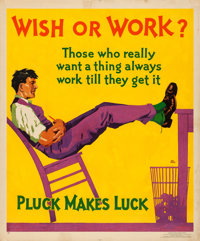 """Wish or Work? (Mather and Co., 1929). Motivational Poster (36"""" X 43.5"""") Hal Depuy Artwork"""