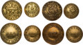 Political:Tokens & Medals, James Garfield et al: Four Sets of Brass Clothing Buttons. ...