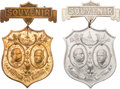 Political:Inaugural (1789-present), Cleveland & Stevenson: Matching Inauguration Badges. ... (Total: 2 Items)