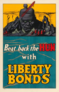 "Movie Posters:War, World War I Propaganda (U.S. Government Printing Office, 1918).Liberty Bonds Poster (19.5"" X 30"") ""Beat Back the Hun,"" Fred..."