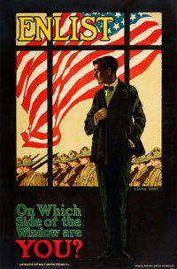 "World War I Propaganda (Geo. F. Griffin, 1917). Very Fine- on Linen. Full-Bleed Recruitment Poster (25.5"" X 38.75&q..."