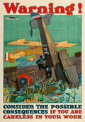 "Movie Posters:War, World War I Propaganda (1917). Poster (28.5"" X 41"") ""Warning!"" L. N. Britton Artwork.. ..."